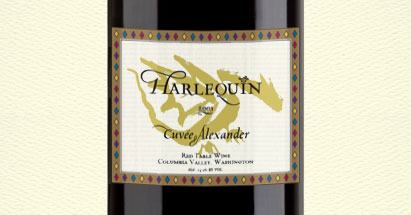 Harlequin wine label design